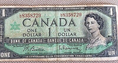1967 Canada One Dollar Bill, Bank Note, Currency, Paper Money