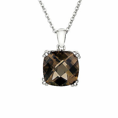 "Genuine Natural Smoky Quartz 925 Solid Sterling Silver Pendant & 18"" Chain"
