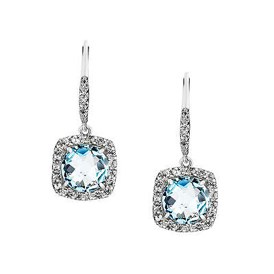 Genuine Natural Sky Blue & White Topaz Solid 925 Sterling Silver Earrings