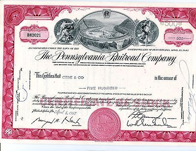 5 Pennsylvannia Railroad Horseshoe Red 500 Share Stock Certificates Consec #s