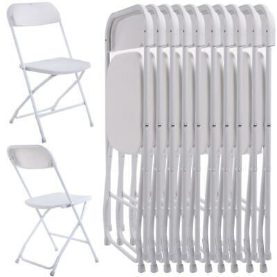 New Commercial White Plastic Folding Chairs Stackable Picnic Party (Set of 10)