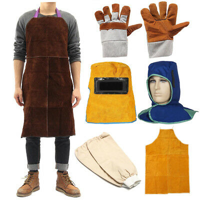 Welding Heat Insulation Protect Leather Aprons Gloves Cover Mask Cloaks Welder