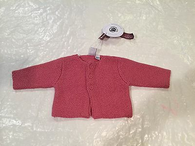 NWT***PETIT BATEAU***Baby Girl Pink Knit Cardigan**Wool/ Cotton**1 Months***$139