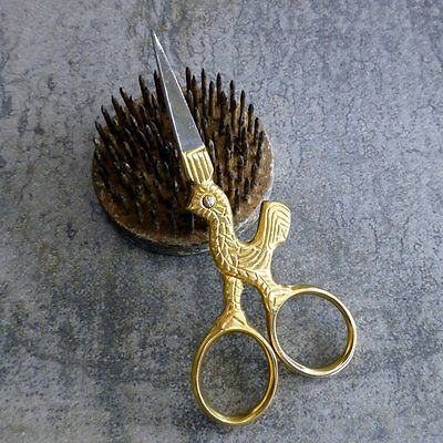 Birch Embroidery Scissors Rooster Chicken Gold Plated Stainless Steel Needlework