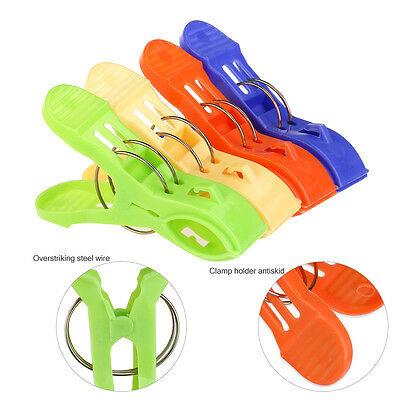 Beach Chair Towel Clips Plastic 8 Pc for Sun Lounger Sunbed Holding Pool Cloths