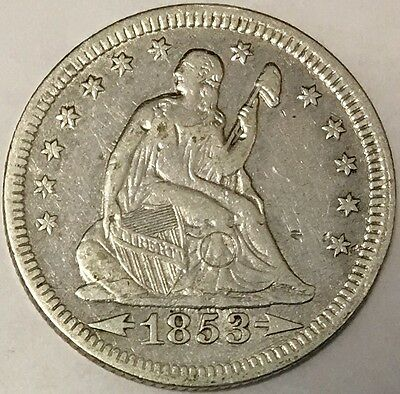 Lovely 1853 25C Arrows and Rays Liberty Seated Quarter, circle scratch, cleaned