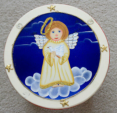 VINTAGE WOOD HAND-PAINTED ANGEL Antique SCULPTURE STOOL RED BLUE Farmhouse Decor