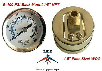 "1/8"" NPT Air Pressure Gauge 0-100 PSI Back Mount 1.5"" Face"