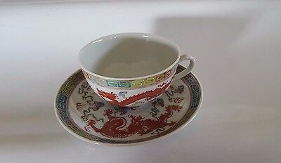 Antique 19th Century Chinese Porcelain Signed Tea Cup/Saucer Set  GUANGXU