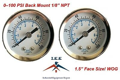 "2 pc 1/8"" NPT Air Pressure Gauge 0-100 PSI Back Mount 1.5"" Face"