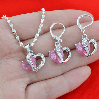 925 Silver Pink Sapphire Lover Heart Jewelry Set Women Fashion Necklace Earrings