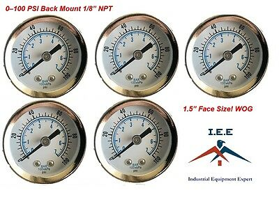 "5 Pack 1/8"" NPT Air Pressure Gauge 0-100 PSI Back Mount 1.5"" Face"