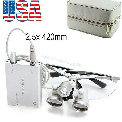 Dental Loupes 2.5x 420mm Surgical Binocular LED Head Light Lamp +Free Case