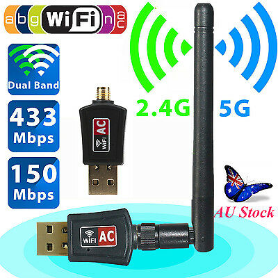 600 Mbps Dual Band 2.4/5.8Ghz Wireless USB WiFi Network Adapter Antenna 802.11AC