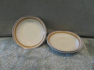 Rare! Set Of 3 Water Colors Blush By Hearthside Tan Brown Band Soup Bowls 8 1/4