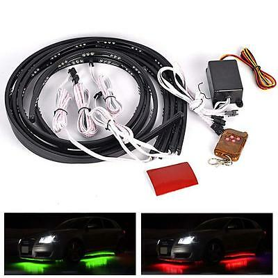 4pcs 7 Color LED RGB Car Strobe Knight Rider Strip Underglow Light Bar Remote#GE