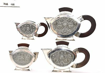 4 Thailand Thai Sterling Silver Repousse Tea Coffee Service Set Teapot 2094 Gram