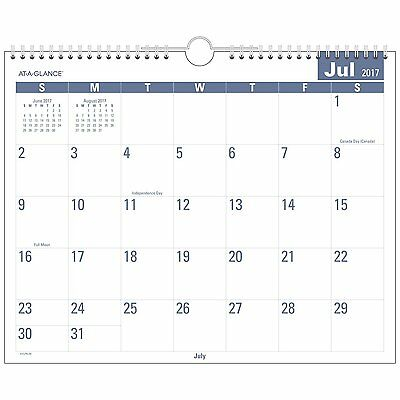 AT-A-GLANCE Academic Monthly Wall Calendar, Easy to Read, July 2017 - June 2018,