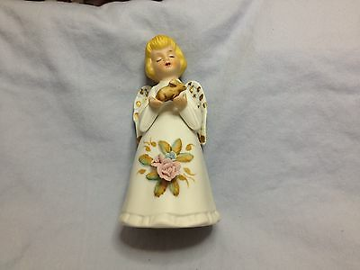 Vintage Porcelain Angel Girl with Bunny Rabbit Bell And Rose Accents