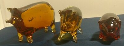 Amberina Glass PIG PAPERWEIGHTS - SET OF 3 - L@@K!!