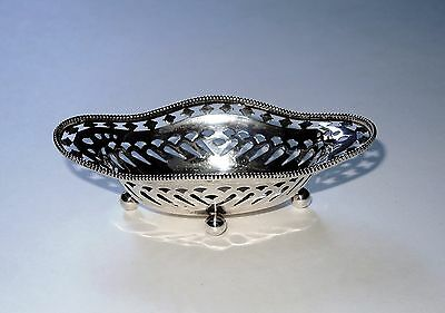 "Antique Howard & Co. Nut Candy Bon Bon Beaded Dish Bowl Sterling Silver 4"" 27 g"