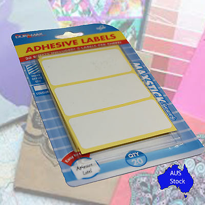 60 White Adhesive Labels 7.5cm x 3.5cm Book Label Home Office Mailing Stickers