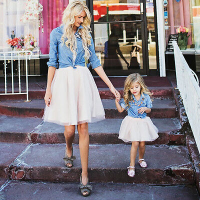 US Family Match Clothes Women Kid Mother Daughter Coat Tutu Skirt Outfits Set