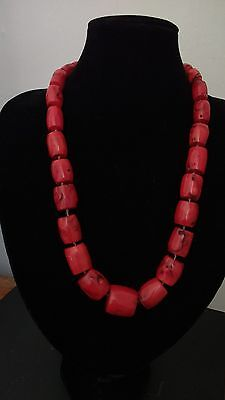 Large Coral Beads Necklace.