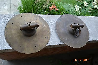 Vintage Antique Hand Cymbals with Wooden Handles and Leather Straps