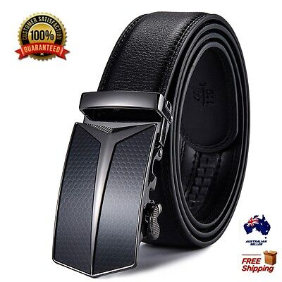 XHTang Fashion Men's Automatic Buckle Belt Genuine Leather Waistband Jeans Gift