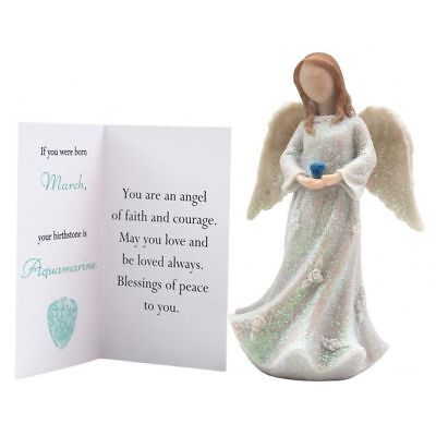 Birthstone Angel - March Faith & Courage  White with Green