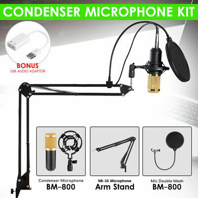 BM800 Condenser Microphone Kit Studio Suspension Boom Scissor Arm Stand Desk AU