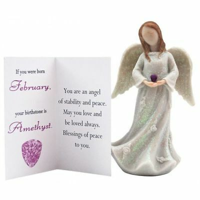 Birthstone Angel - February  Stability & Peace White with Purple Stone