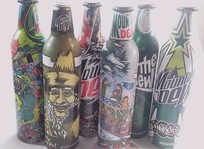 Lot of 6 Painted Mountain Dew Aluminum Soda Cans Green Label Arts Volume 1
