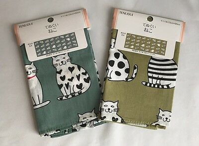 Tenugui  CAT  Towel Japanese Traditional Thin  Cotton  Brand New