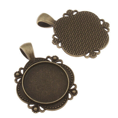 ushes  NOT for 45mm Buttons 10 x Pendants 45mm Round Bezel Antique Silver