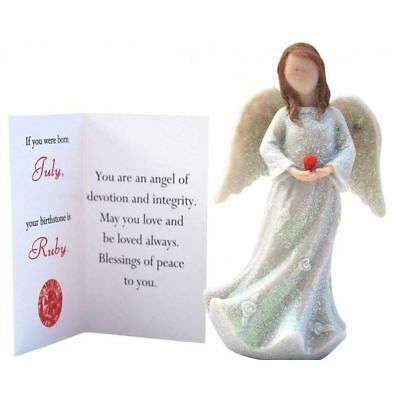 Birthstone Angel - July Devotion & Integrity White with Red Stone