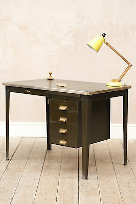Lovely Antique Vintage Industrial Modernist Steel And Brass Pedestal Desk