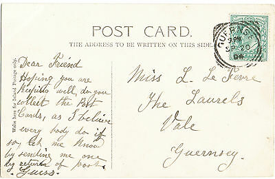 "Guernsey ""Squared Circle"" 1904 Rare Postmark on Gull Rock,Guernsey Postcard"