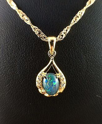 18ct Gold Plated Triplet Opal Necklace Pendant w Cubic Zirconias Cert and Chain