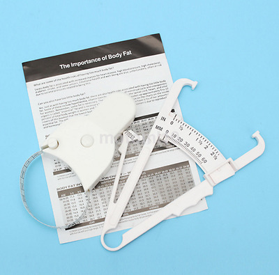 Practical Body Fat Caliper Body Mass Measure Tape Tester Fitness Weight Loss US