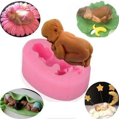 3D Cute Sleeping New Born Baby Silicone Mould Fondant Cake Decorating Moulds LH