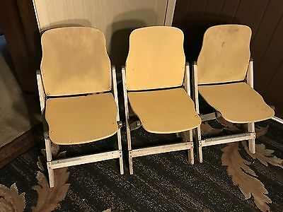 Vintage American Seating Company Folding Chairs Lot of Three