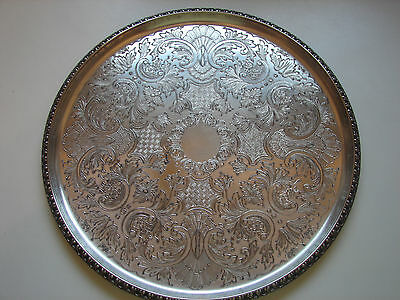 altes, rundes Tablett, silverplated, England, 29cm