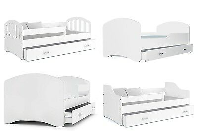 White Single Childrens Kids Toddler Bed + Drawer 140x80/160x80/180x80