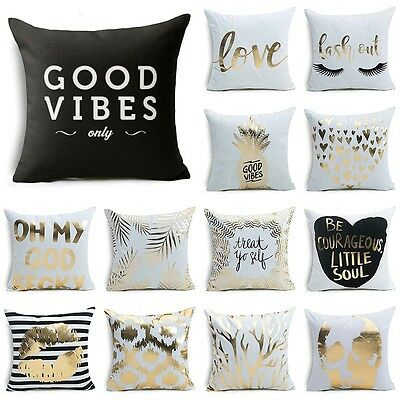 """18""""  Bronzing Gold Letters Throw Pillow Case Sofa Car Cushion Cover Home Decor"""