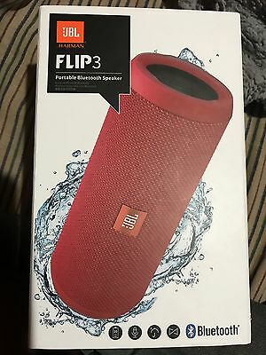 NEW JBL FLIP-3 SPLASHPROOF PORTABLE BLUETOOTH SPEAKERPHONE WIRELESS SPEAKER-Red