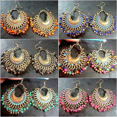 Indian Antique Vintage Gold Plated Multi Bead 5 cm Ring Jhumka Party Earrings