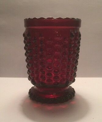 Collectible Vintage Ruby Red Hobnail Glass Footed Tealight Votive Toothpick