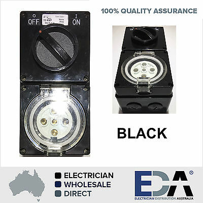 3 Three Phase 5 Pin 32 Amp BLACK Switched Socket Outlet Industrial IP66 56 Se...
